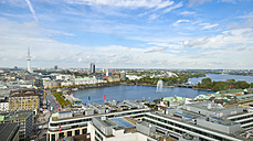 Germany, Hamburg, cityscape with Inner and Outer Alster Lake - RJF000338