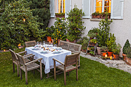 Autumnal laid table in garden in the evening - WDF002730