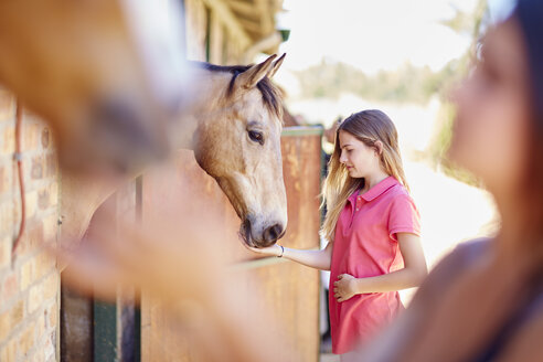 Teenage girl caring for horse in stable - ZEF001757