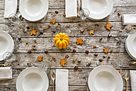 Autumnal laid table with yellow pumpkin, chestnuts and acorns - LVF002094