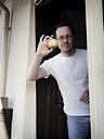 Man holding apple - EVGF000982
