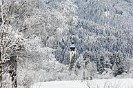 Austria, Salzburg State, Altenmarkt-Zauchensee, Church and winter forest - HHF004941