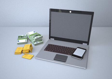 Laptop with smartphone, gold bars and euro notes, 3d Rendering - ALF000243