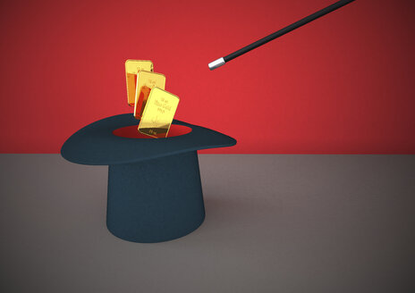 Illustration, Magician's hat and gold bars, 3D Rendering - ALF000245