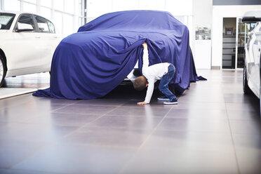Boy at car dealer unveiling tarpaulin - ZEF002065