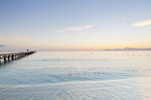 Spain, Balearic Islands, Majorca, one person walking on a jetty - MSF004336