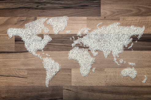 World map made of rice grains, symbol for world hunger - OPF000036