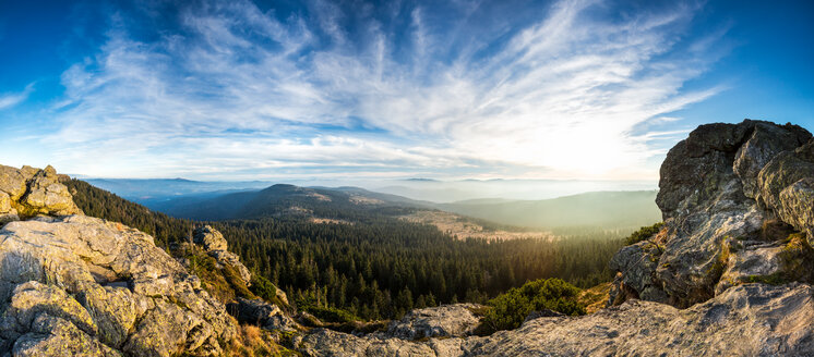 Germany, Bavaria, Bavarian Forest, Great Arber, View from Wagnerkopf, Panorama - STSF000570