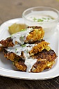 Savory Pumpkin Fritters with spicy soy yogurt sauce with chives - HAWF000507