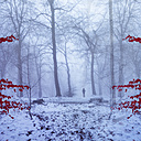 Germany, near Wuppertal, Man on forest path in winter, digital manipulation - DWI000291