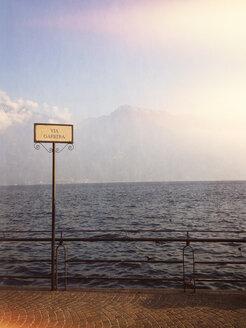 Italy, Limone, sign at Lake Garda - LVF002245