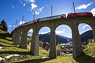 Switzerland, Grisons, Glarus Alps, Surselva Valley, railway bridge near Sedrun, Glacier Express - STS000589