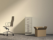 Office chair, drawer cabinet and cardboard box in an empty office, 3D Rendering - UWF000251