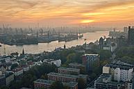 Germany, Hamburg, Port of Hamburg at sunset - RJF000354