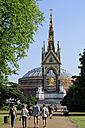 UK, London, Kensington Gardens, people walking towards the Albert Memorial and  Royal Albert Hall - MIZF000655