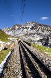 Switzerland, Canton of Uri, Railway track at Oberalp Pass - STSF000590