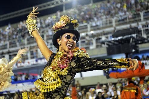 Brazil, Rio de Janeiro, Sambodromo, Carnaval, parade of samba school Academicos do Grande Rio - FLK000562