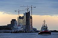 Germany, Hamburg, Elbphilharmonie at River Elbe with tugboat - MIZ000761