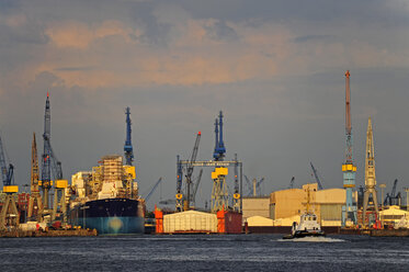 Germany, Hamburg, Steinwerder, harbor and River Elbe - MIZ000766