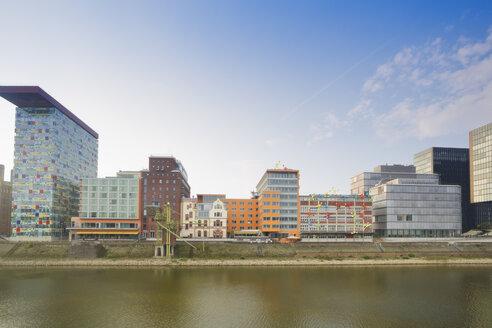 Germany, Dusseldorf, Media Harbour, Old warehouses at Julio Levin Ufer - MEMF000513