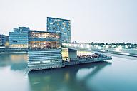 Germany, Dusseldorf, Media Harbour, Restaurant at The Living Bridge - MEMF000537