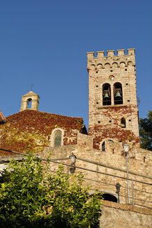 Italy, Tuscany, Castagneto Carducci, Propositura di San Lorenzo, Church and bell tower - UMF000716