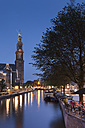 Netherlands, Amsterdam, Prince's Canal, Church tower in the evening - FCF000491