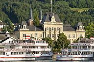 Austria, Vorarlberg, Lake Constance, Bregenz, ships in harbor in front of general post office - SH001661