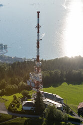 Austria, Vorarlberg, Bregenz, aerial view of radio tower on Pfaenderspitze - SHF001650