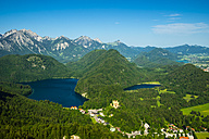 Germany, Bavaria, Allgaeu, View to Hohenschangau Castle, Lakes Alpsee and Schwansee - WGF000529