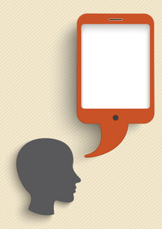 Vector Illustration, Head with smart phone speech bubble against beige background - ALF000256
