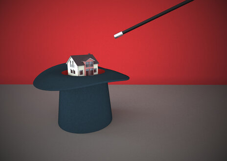 3D Rendering, White house conjured with wand from top hat - ALF000259