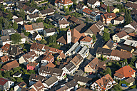 Germany, Baden-Wuerttemberg, Litzelstetten, aerial view of town with church - SHF001787
