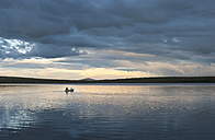 Sweden, Lapland, Norrbotten County, Kiruna, canoeing father and son - JBF000190