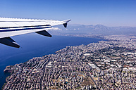 Turkey, Antalya, View to coastal city from plane - THAF001003