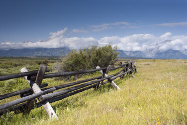 USA, Wyoming, Grand Teton National Park, wooden fence on meadow - NNF000124