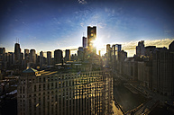 USA, Illinois, Chicago, view to skyscrapers and Merchandise Mart at sunrise - SMAF000272