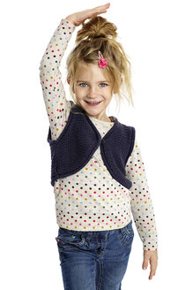 Blond little girl presenting her size in front of white background - GDF000626