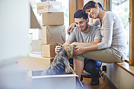 Couple moving house sharing a moment with the dog - ZEF002910
