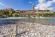 Switzerland, Bern, heap of stones at River Aare - WDF002735