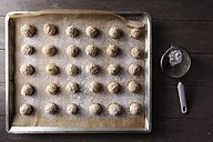 Baking tray of flapjacks sprinkled with icing sugar - EVGF001386