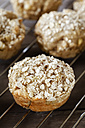 Apple oat muffins on cooling grid - EVGF001388