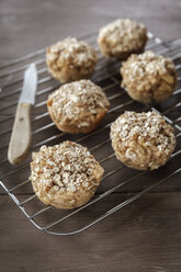 Apple oat muffins on cooling grid - EVGF001390