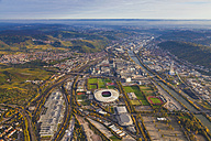 Germany, Baden-Wuerttemberg, Stuttgart, aerial view of Neckarpark with Mercedes-Benz Arena - WDF002773