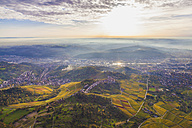 Germany, Baden-Wuerttemberg, Stuttgart, aerial view of Neckar Valley with vineyards - WDF002776