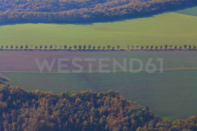 Germany, Baden-Wuerttemberg, aerial view of fields in the Swabian mountains near Pfrondorf - WDF002781