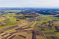 Germany, Baden-Wuerttemberg, Melchingen, aerial view of fields and wind farm - WDF002794