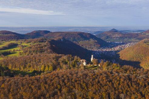 Germany, Baden-Wuerttemberg, aerial view of Lichtenstein Castle - WDF002800