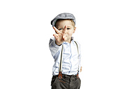 Little boy wearing cap and suspenders showing victory sign - GDF000638