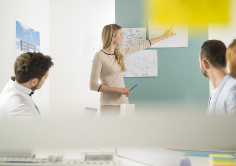 Young woman leading a presentation in a business meeting - UUF002822